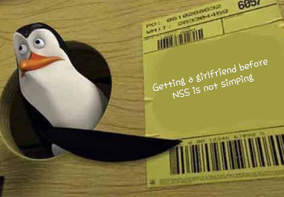 Pinguin Getting a girlfriend before NSS is not simping