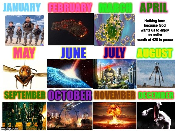 The disaster meme calendar 2020
